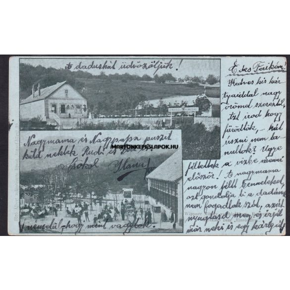 Budapest régi képeslapon. Wippner Mihály vendéglője a remetéhez. Kiadó: Bíró Albert műintézet. Feladva 1901