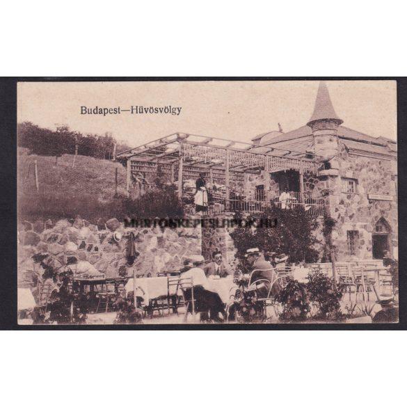 Budapest régi képeslapon. Hűvösvölgy vendéglő terasza