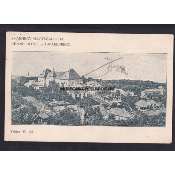 Budapest régi képeslapon. Svábhegy nagy szálloda. Feladva 1915