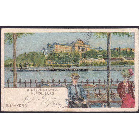 Budapest régi képeslapon. Duna part és a királyi vár. Feladva 1899
