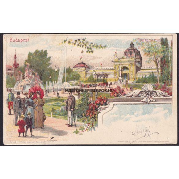 Budapest régi képeslapon Iparcsarnok. Valamikor az 1900 as évek elején.