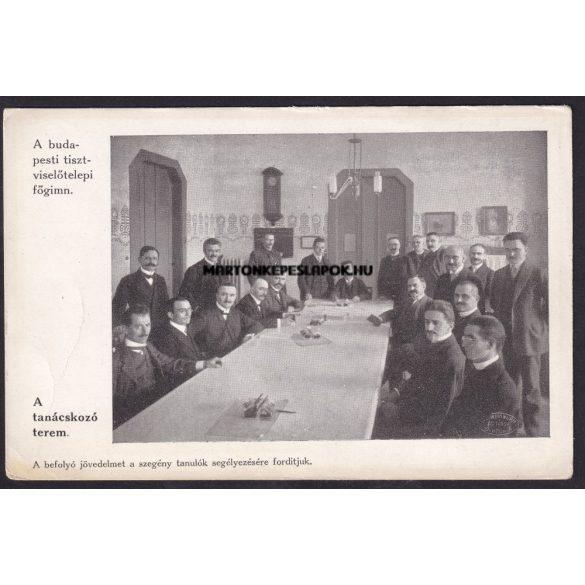 Budapest régi képeslapon. A budapesti tisztviselőtelepi főgimnázium. A tanácskozó terem. A befolyó jövedelmet a szegény tanulók segélyezésére fordítjuk.