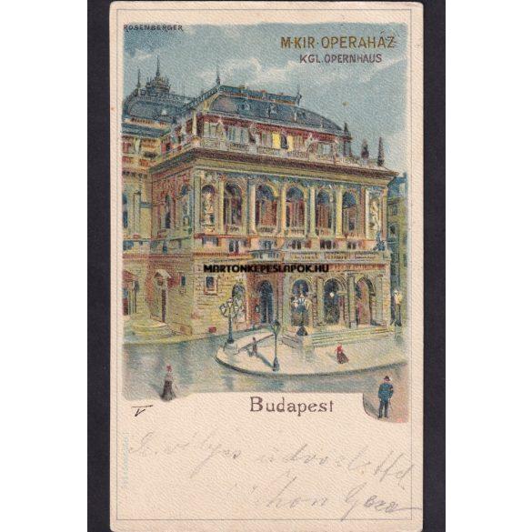 Budapest régi képeslapon. Magyar királyi operaház. Feladás dátuma 1899