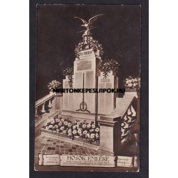 Budapest régi képeslapon. Hősök emléke. A Bocskay István m. kir. reál iskolai nevelőintézet előcsarnokában. Budapesten 1920 01.10