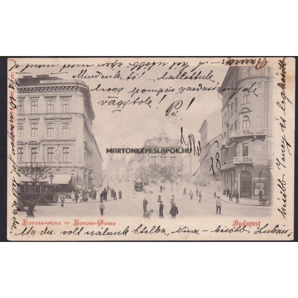 Budapest régi képeslapon. Baross utca villamossal . Feladás dátuma 1899.Kiadó Divald Károly.