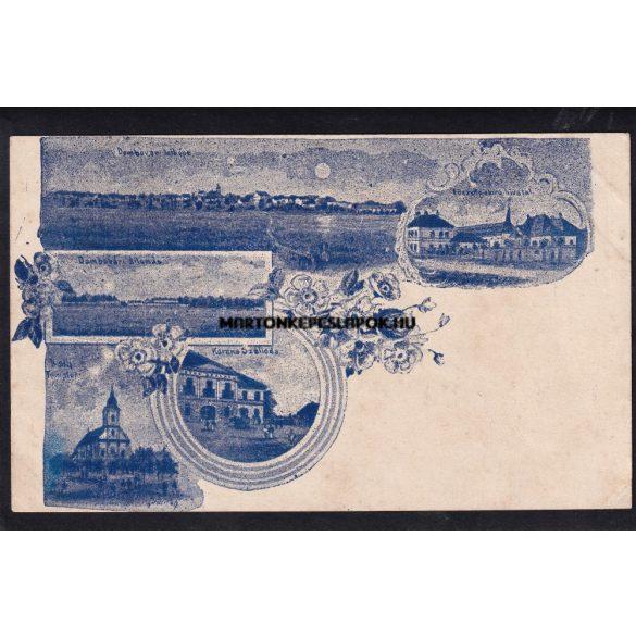 Dombóvár régi képeslapon. Vasútállomás, látkép, hivatal, római katolikus templom.