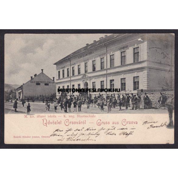 Orsova régi képeslapon. Magyar királyi állami iskola. Raichl Sándor kiadása