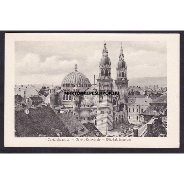 Nagyszeben, Hermannstadt régi képeslapon. Görögkeleti templom. 1920-as évekből