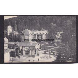 Bártfafürdő régi képeslapon. Főforrás, róm. kath. templom és a villák. Neumann Viktor kiadás.