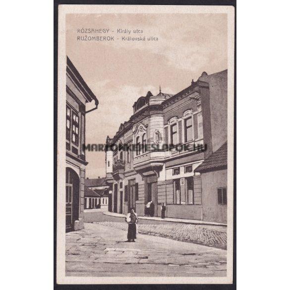 Rózsahegy régi képeslapon. Rózsahegy, Király utca. Kiadja Valuch János papírkereskedése.