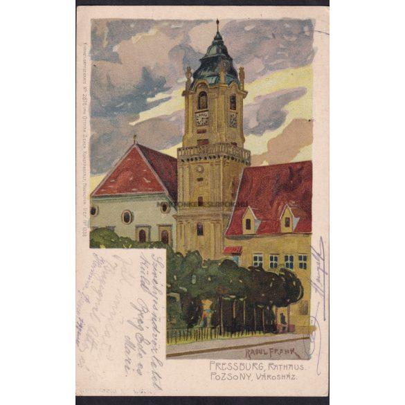 Pozsony régi képeslapon.Városháza.Künstlerpostkarte No. 2876. von Ottmar Zieher, litho: Raoul Frank