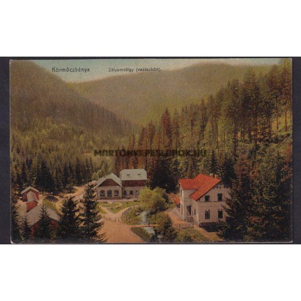 Körmöczbánya régi képeslapon. Körmöcbánya Zólyom völgye, vadászkűrt. Ritter Lipót kiadása.