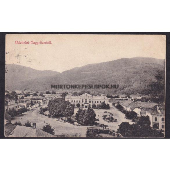 Nagyrőcze régi képeslapon. Üdvözlet Nagyrőczéről. Látkép a vigadóval. Lévai Izsó kiadása. Postázva viszont csak 1973-ban volt