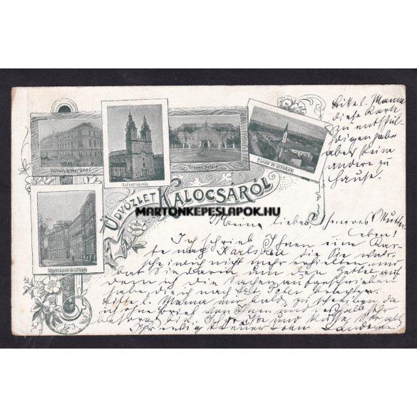 Kalocsa régi képeslapon. Székesegyház, zárda, érseki palota.