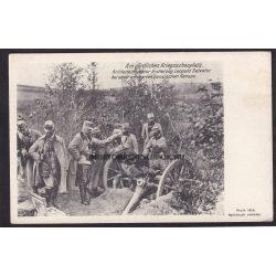 Északi hadszíntér. Tüzérségi Fegyvernem Főfelügyelője  Leopold Salvator főherceg egy megszerzett orosz ágyú mellett.