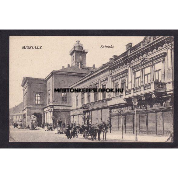 Miskolc régi képeslapon. Színház és üzletek.