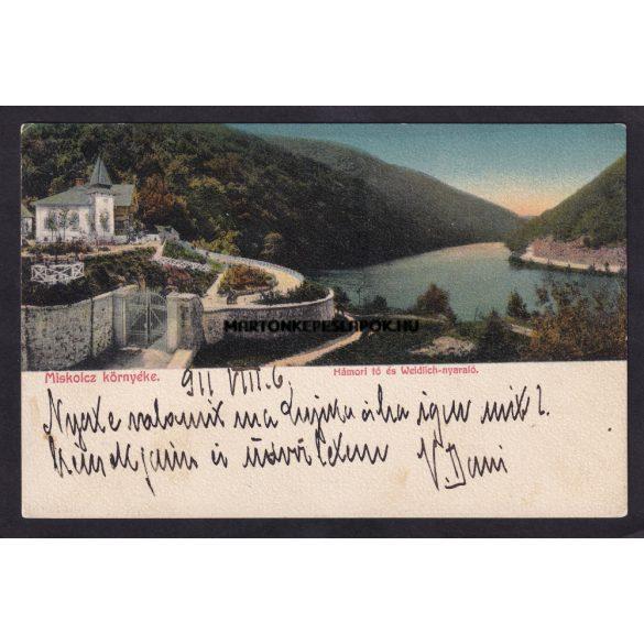Miskolc környéke régi képeslapon. Hámori tó és a Weldich nyaraló.