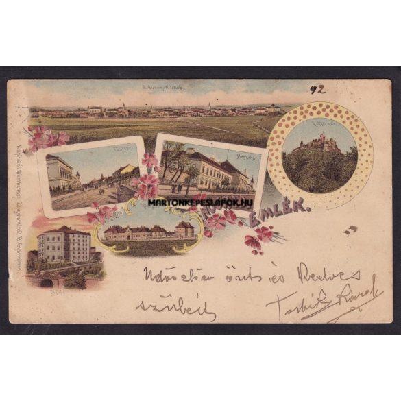 Nógrád régi képeslapon. Kórház, megyeház, Fő utca, Balassagyarmat távolból. Kiadó Wertheimer Zsigmond kiadása.1898