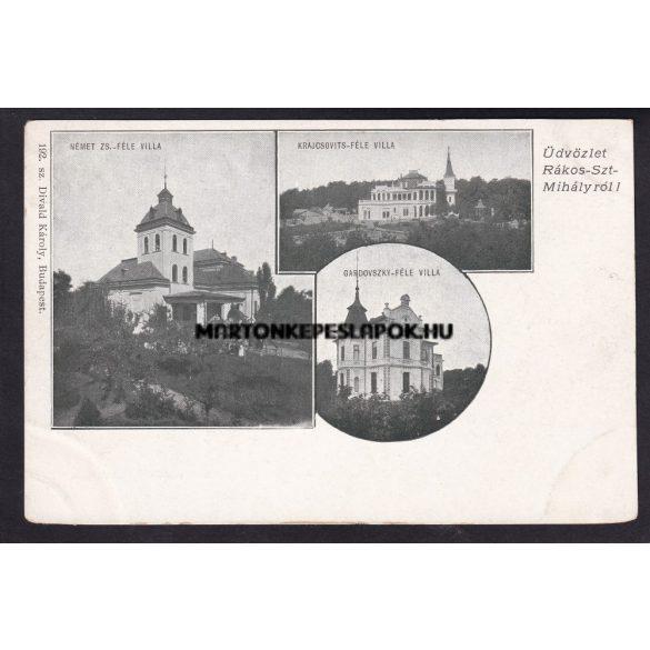 Rákosszentmihály régi képeslapon. Német Zs. féle villa, Gardovszky-féle villa, Krajcsovits-féle villa.