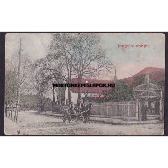 Leányfalu régi képeslapon. Leányfalusi vendéglő vonattal