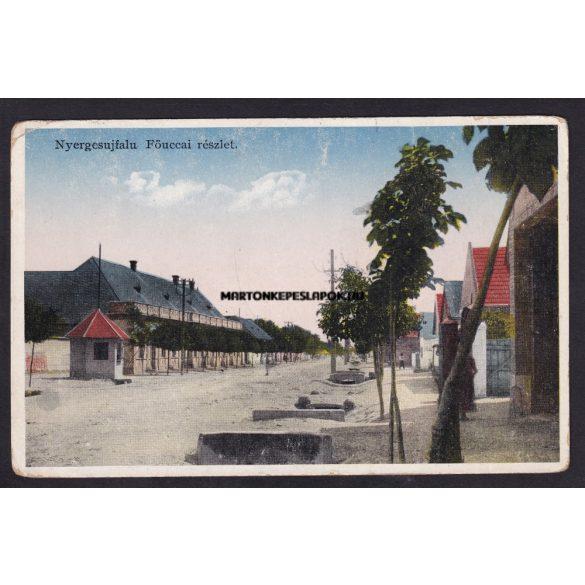 Nyergesújfalu régi képeslapon. Fő utcai részlet. Szalézi intézet kiadása
