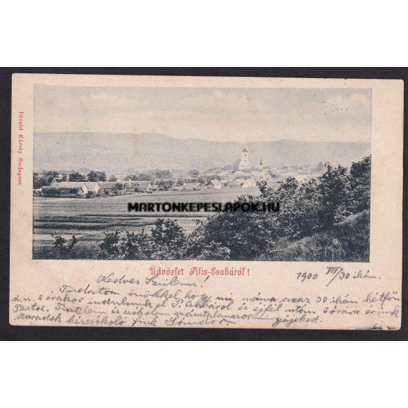 Üdvözlet Piliscsabáról régi képeslapon. Feladva 1900.-ban. Kiadó: Divald Károly, Budapest.