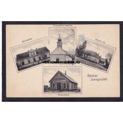 Somogyszil régi képeslapon. Főtiszti lak, községháza, evangélikus templom, villanytelep. Karl Béla kiadása