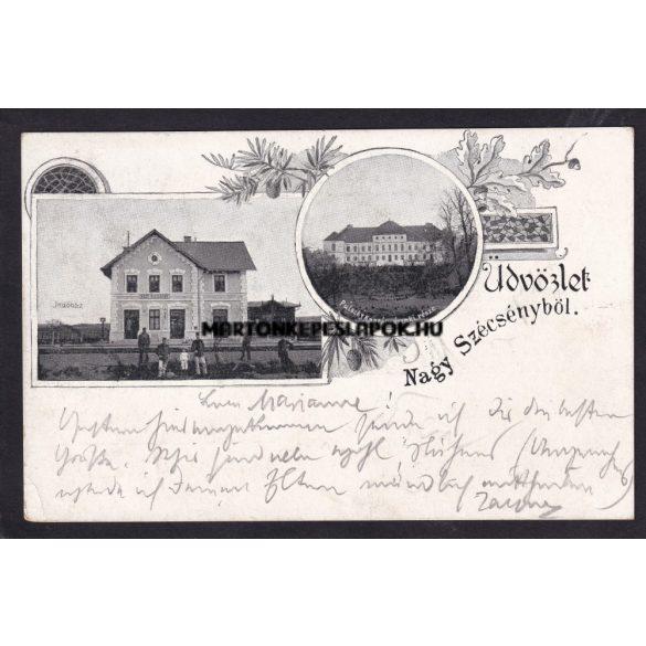 Szécsény régi képeslapon. Indóház és a kastély. 1900