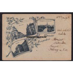 Szeged régi képeslapon. Színház, Híd utca és a Széchenyi tér 1899
