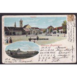 Szigetvár régi képeslapon. Vásártér és a vár. Kozáry Ede kiadása.