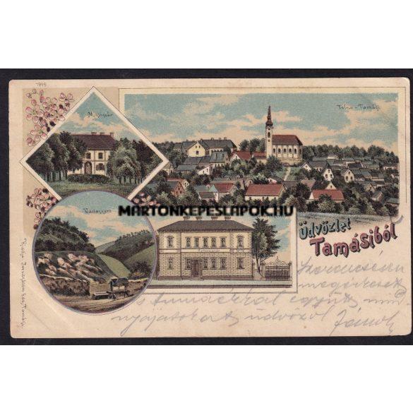 Tamási régi képeslapon. Vadaskert, takarékpénztár, MIklósvár, Tolna-Tamási. Kiadó Jeruzsálem Ede. 1899