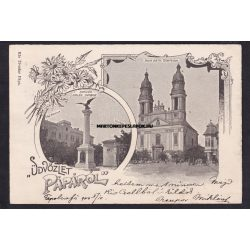 Pápa régi képeslapon. Üdvözlet Pápáról. Kis Tivadar kiadása. 1900-ban feladva